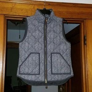 J. Crew gray herringbone quilted vest
